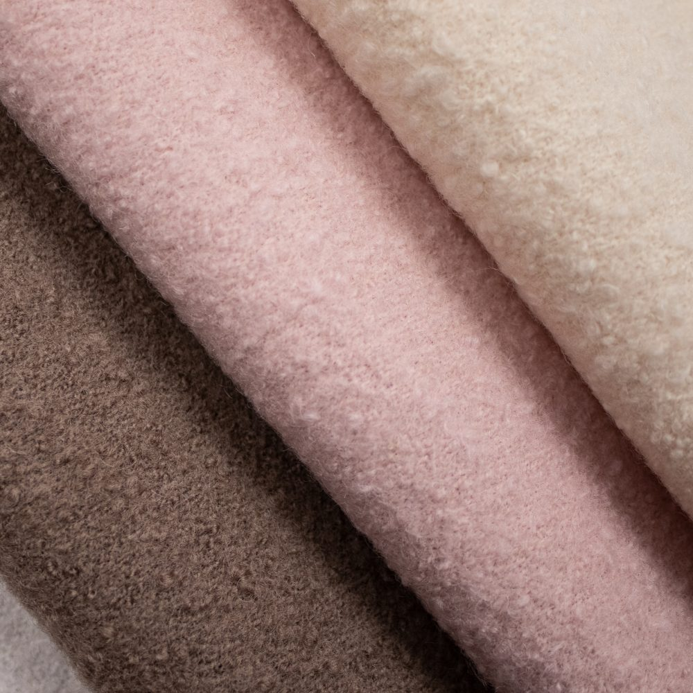 Orkney Wool Textile   Pink Wool Boucle Upholstery Made in Scotland