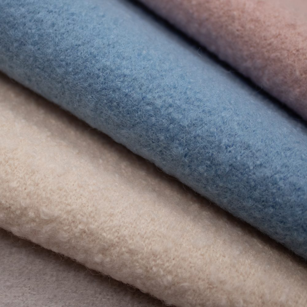 Orkney Wool Textile   Blue Wool Boucle Upholstery Made in Scotland