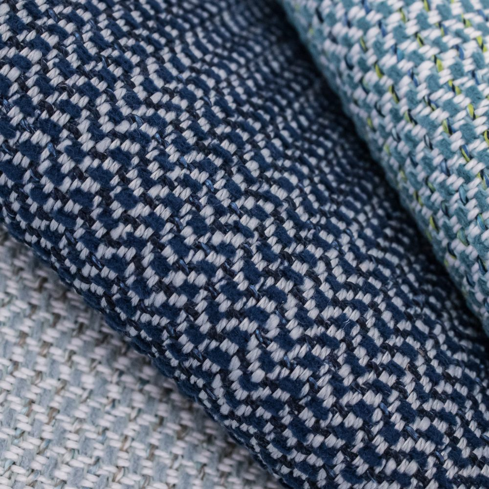 Garwood Indoor Outdoor Performance Textile | Blue Herringbone Inside Out Performance Fabric Bleach Cleanable