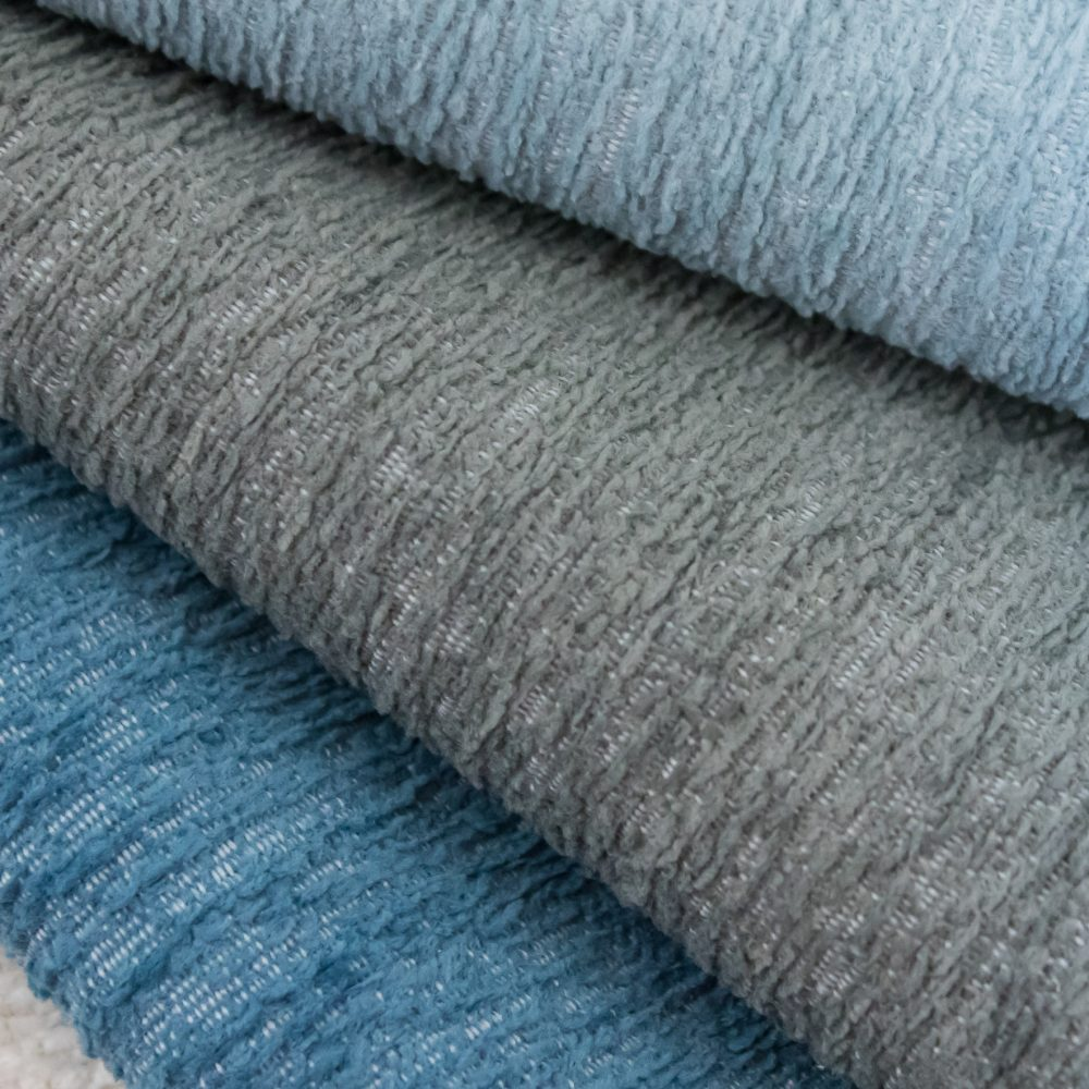 Gowan Indoor Outdoor Performance Textile | Blue Plush Inside Out Performance Fabric Bleach Cleanable