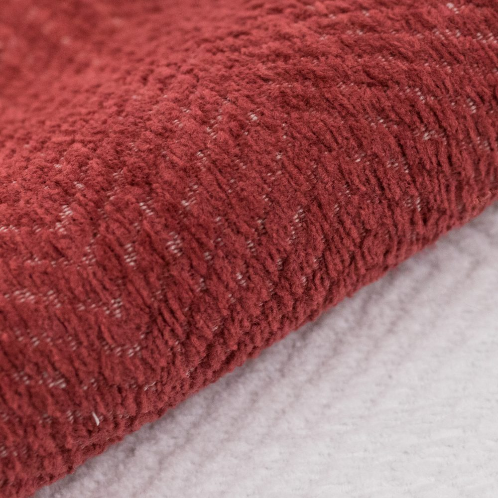 Justify Indoor Outdoor Performance Textile | Red Plush Herringbone Inside Out Performance Fabric Bleach Cleanable