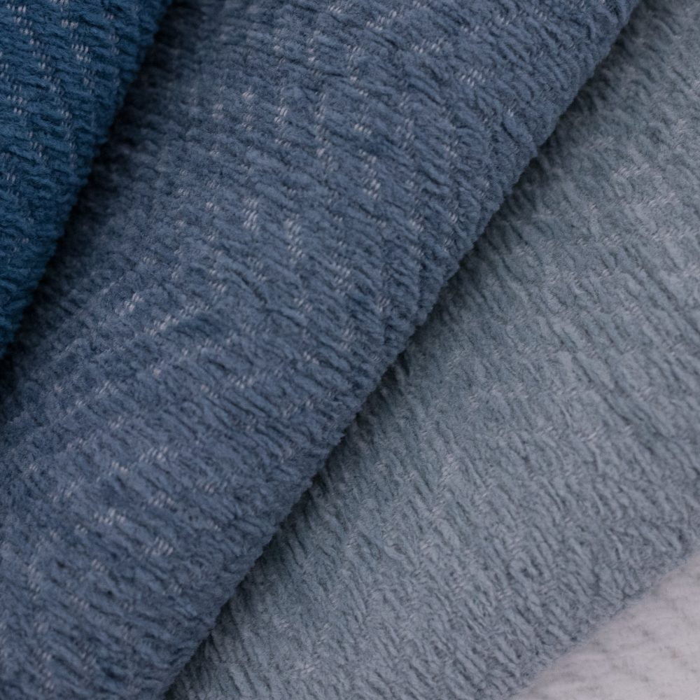 Justify Indoor Outdoor Performance Textile | Blue Plush Herringbone Inside Out Performance Fabric Bleach Cleanable