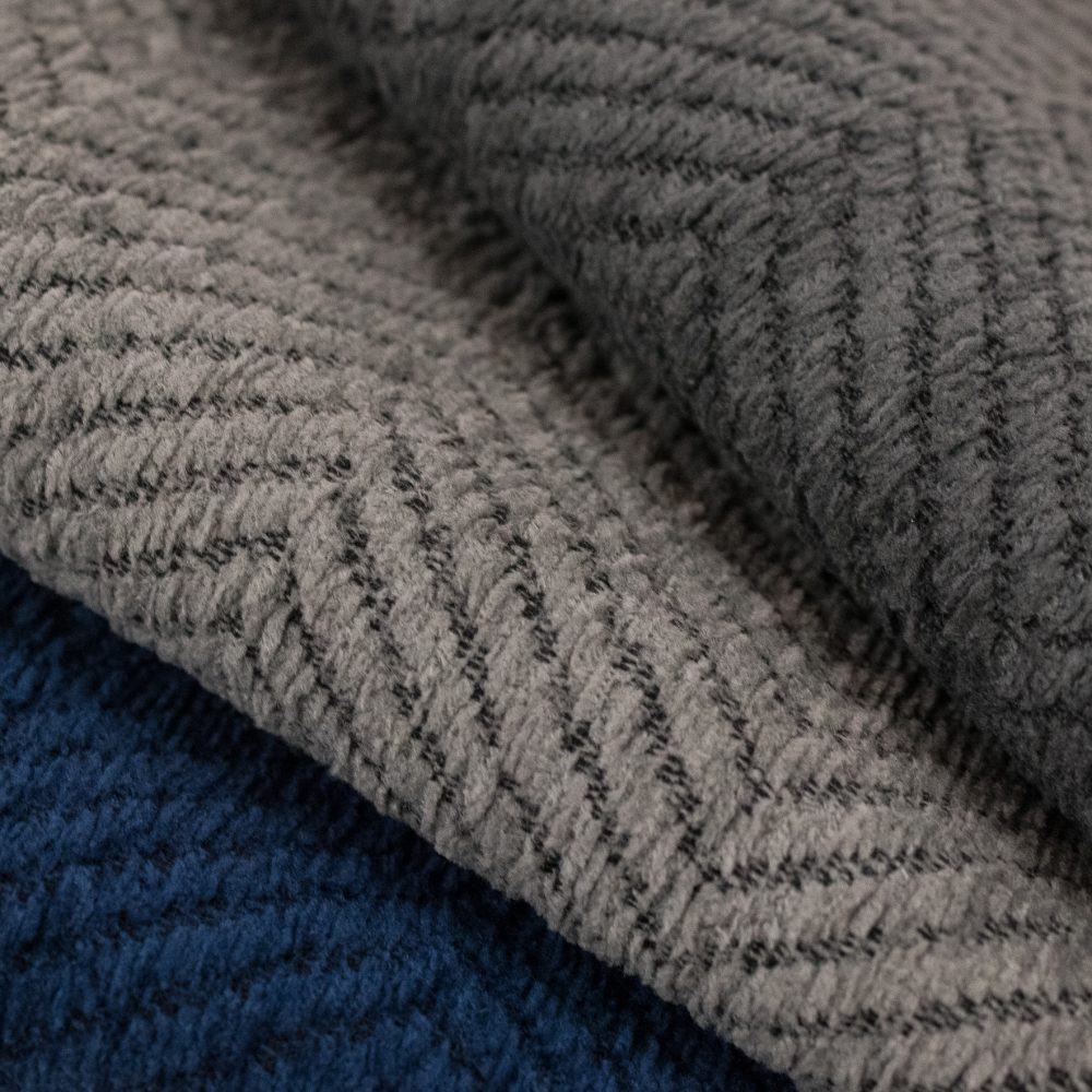 Justify Indoor Outdoor Performance Textile | Grey Plush Herringbone Inside Out Performance Fabric Bleach Cleanable