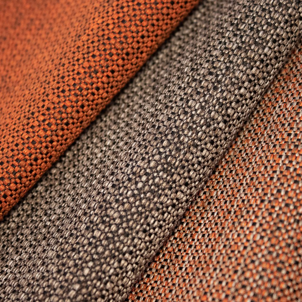 Prime Collection Performance Textile | Orange Textured Fabric Made in Canada Bleach Cleanable Recycled Polyester